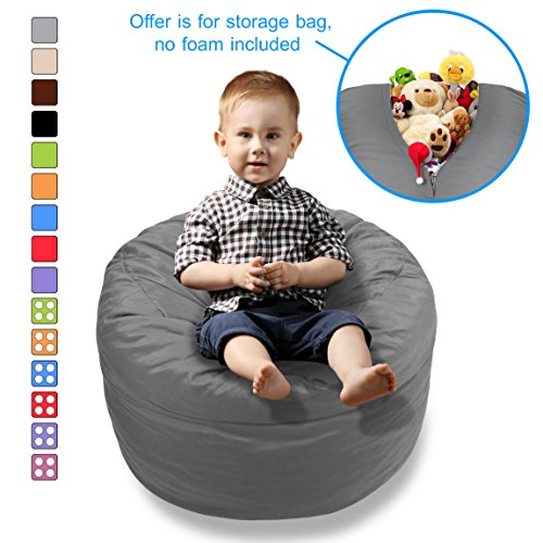 BeanBob Stuffed Animal Bean Bag - Kids Stuffed Animal Storage Bag Chair - Pouf Ottoman for Toy Storage (Medium - 2ft, Grey) by BeanBob