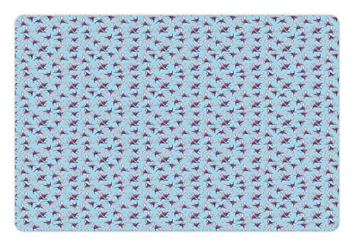 (Lunarable Aloha Pet Mat for Food and Water, Sweet Feminine Botanical Pattern with Exotic Orchid Petals Bloom, Rectangle Non-Slip Rubber Mat for Dogs and Cats, Pale Blue Violet and Baby Pink)