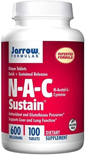 Jarrow Formulas Nac Sustain 600mg, 100 Tablets (Pack of 2)