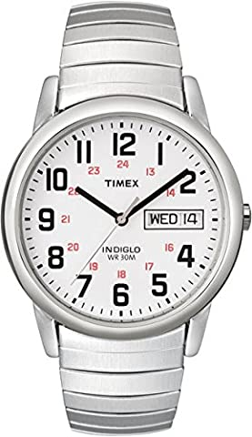 Timex Men's T20461 Easy Reader Silver-Tone Stainless Steel Expansion Band Watch (24 Hour Dial Clock)