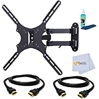 Full Motion Articulating Wall Mount for Sony 26 for (KDL-26M4000, KDL-26S2000, KLHW26, KDL-26M3000, KD-LV26XBR1) Tvs. + 2 HDMI Cables + Screen Cleaning Liquid