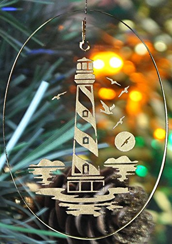 Carved Glass Hatteras Lighthouse Ornament