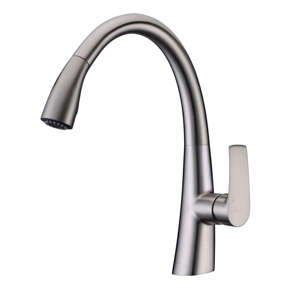 SonTiy Commercial Pull Down Kitchen Faucet with Sprayer, Single Handle Utility High Arc Pull Out Kitchen Faucet Brushed Nickel, Modern Single Hole Black Kitchen Sink Faucets