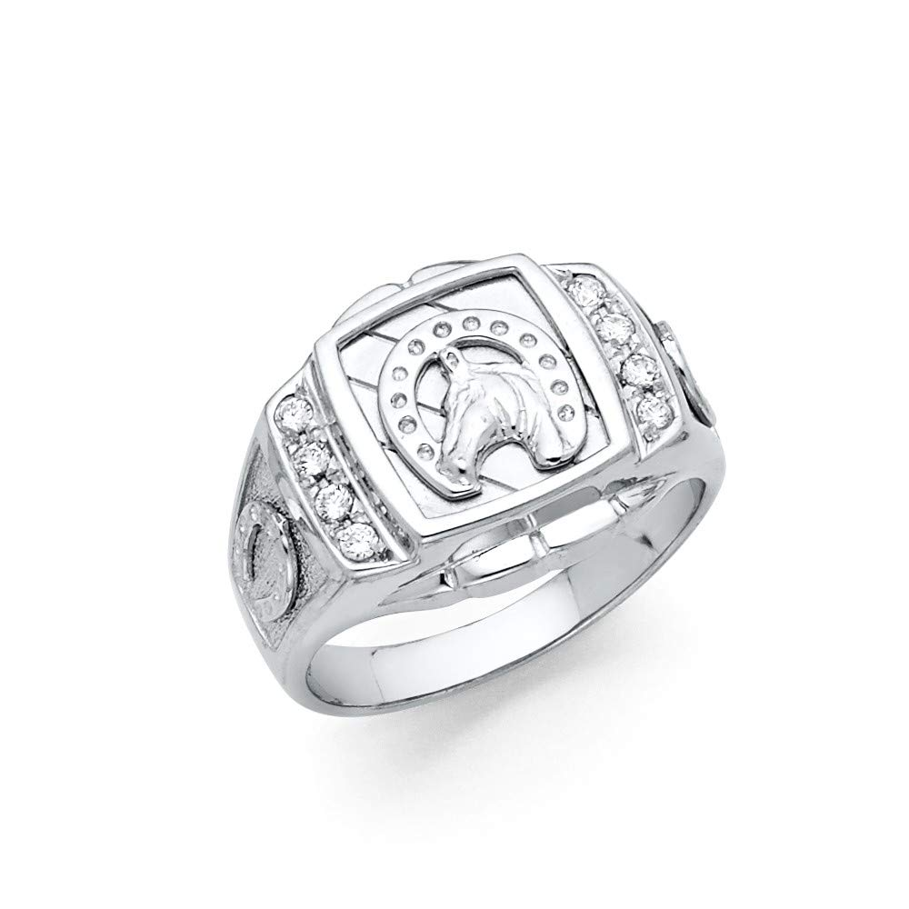 FB Jewels 925 Sterling Silver CZ Cubic Zirconia Mens Lucky Horseshoe Fashion Anniversary Ring
