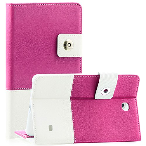 Tab 4 8 Case - SAWE Samsung Galaxy Tab 4 8.0 Hybrid Folio Case - Slim Fit Premium Leather Cover with stand for Samsung Tab 4 8-Inch Tablet SM- T330 / T331 / T335 (Hot Pink)