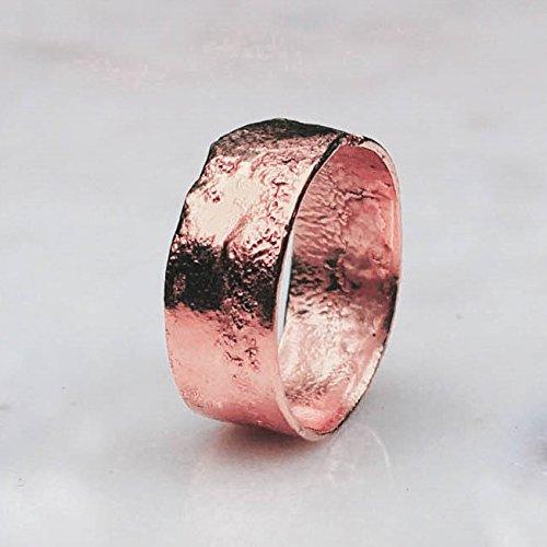 7mm Textured Rose Gold Band, Size 5, Rustic Boho Ring, Raw Mens Wedding Band