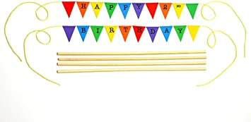 Adjustable Length 2nd Birthday Bunting Cake Topper for Circus amazing buntings Candy Land or Rainbow themed Party