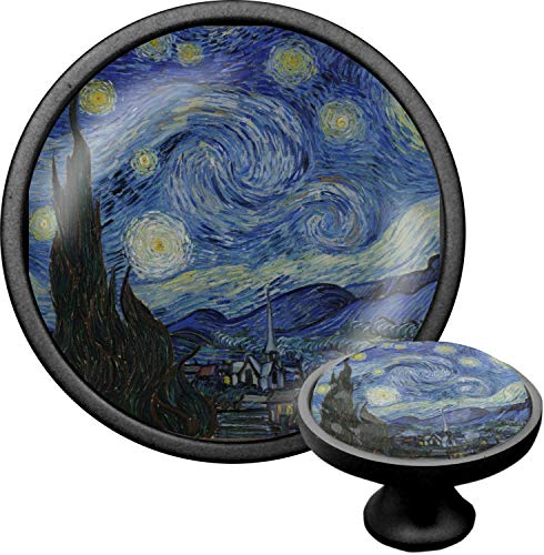 The Starry Night (Van Gogh 1889) Cabinet Knob (Black)