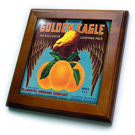 3dRose ft_171120_1 Golden Eagle Valencias Placentia Orchard Company California-Framed Tile Artwork, 8 by 8-Inch ()