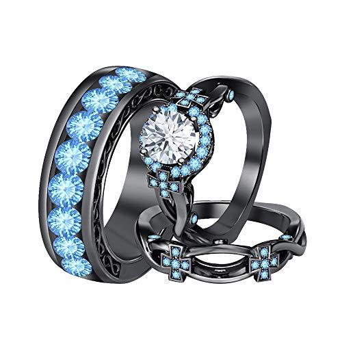 tusakha Round White Diamond & Blue Topaz 14K Black Gold Cross Engagement Wedding Band Bridal Trio Ring Set for Men's & Women's Over 925 Streling Silver