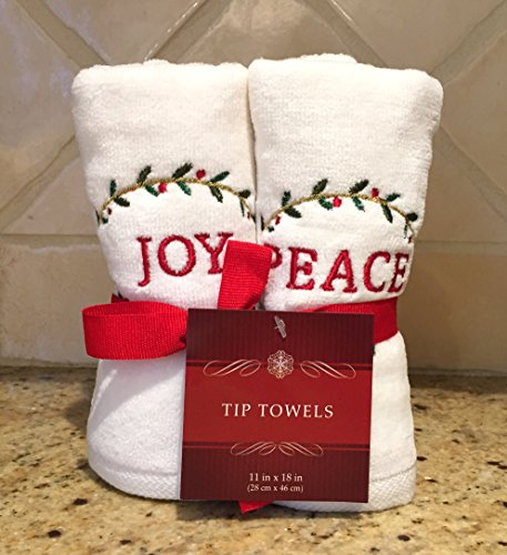 Christmas Holiday White Embroidered Hand Towels: Noel, Joy, Peace, Merry