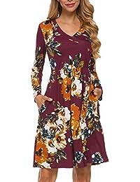 Women's Floral Fall Long Sleeve Pockets Casual Tunic T Shirt Dress