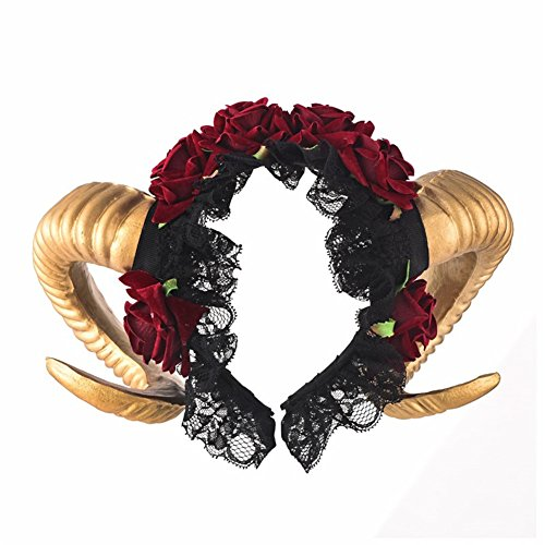 Xiaolanwelc Headband Cosplay Fantasy Fancy Dress Sheep Goat Animal Red Rose Crown Headpieces Costumes Accessories