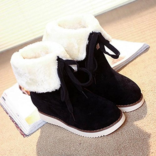 Fur Black Calf Winter Boots Shoes Ankle Faux Toe Flat Slip On Women Boots Round Mid Inkach Lining Snow TqxFz11