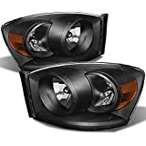 Black 06-08 Ram 1500 06-09 Ram 2500 3500 Pickup Truck Headlights Front Lamps Direct Replacement