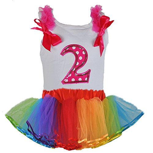 [Rainbow Color Tulle Tutu with Birthday Polka Dot Age Number Tank Top 2 Pcs Set (Age 2-PW)] (Dance Dress Costumes Studio)