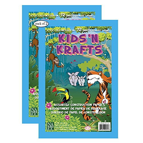 Kids N' Krafts 72 Sheet Assorted Construction Paper Pad 6 x 9 (Pack of 2)