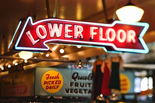 Neon Sign Lower Floor Pike Place Market Seattle Photo Art Print Poster 18x12 inch