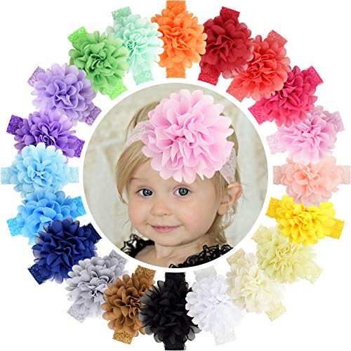 WillingTee 20pcs Baby Girls Headbands Chiffon Flower Lace Band Hair Accessories for Baby Girls Newborns Infants Toddlers