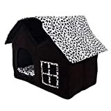 Dog House, Petforu Soft Plush Luxury British Style Pet Puppy Dog Cat Villa House Bed Cage Nest with PP Cotton Mat Folding Collapsible Removable Details-Black For Sale