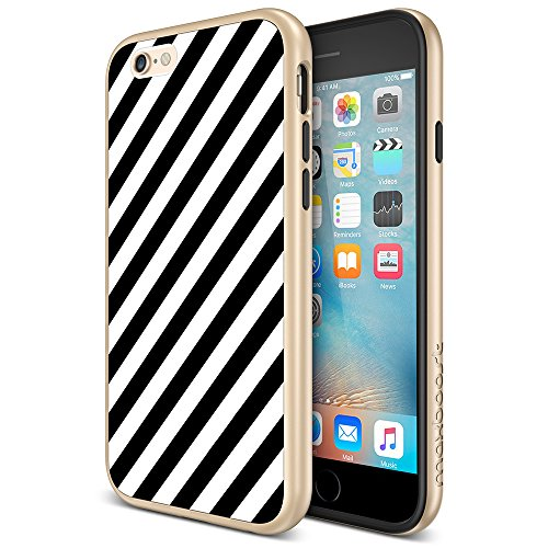iPhone 6 / iPhone 6s Case, Maxboost [Vibrance Designer Series] Modern Slim Geometric Fit [Angular Rain] Smooth Surface with Gold Frame Excellent Grip Protective PC Cover for iPhone - Angular Frames