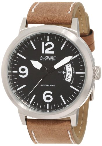 August-Steiner-Mens-ASA812WT-Stainless-Steel-Watch-with-Brown-Leather-Band