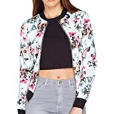 Hot ! Women Blouse, Ninasill Exclusive Casual Print Zipper Vintage Blazer Jacket Coat Outwear Blouse (M, White)