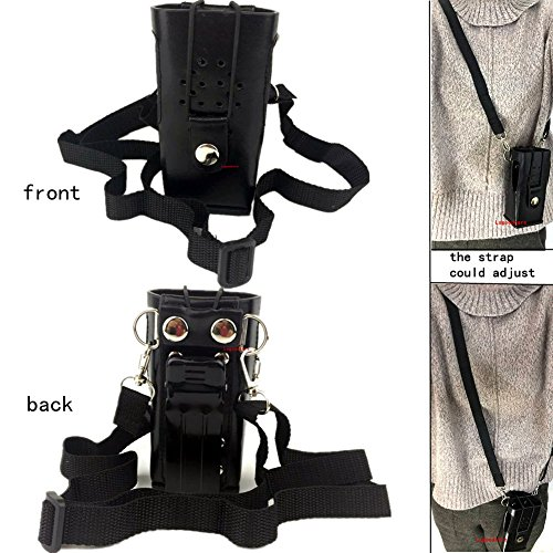 (Black Hard Leather Carrying Holder Holster Case with Adjustable Shoulder Strap Compatible for Yaesu ICOM Kenwood Two Way Radios TK3107 TK3207 TK2107 TK2207 Walkie Talkie, by Lsgoodcare)