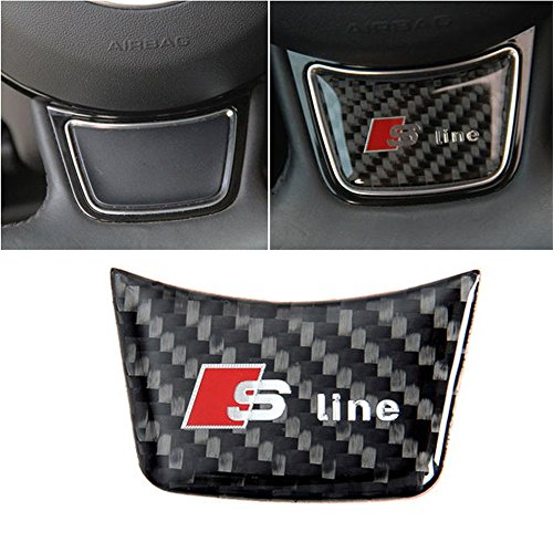 AUTO-P For Audi A4 B6 B8 B7 B5 A3 8P 8L 8V A6 C5 C7 A5 Q7 Q5 Q3 A1 A8 S3 S4 S line Quattro RS7 Car Steering Wheel Decoration Sticker(Carbon Fiber)