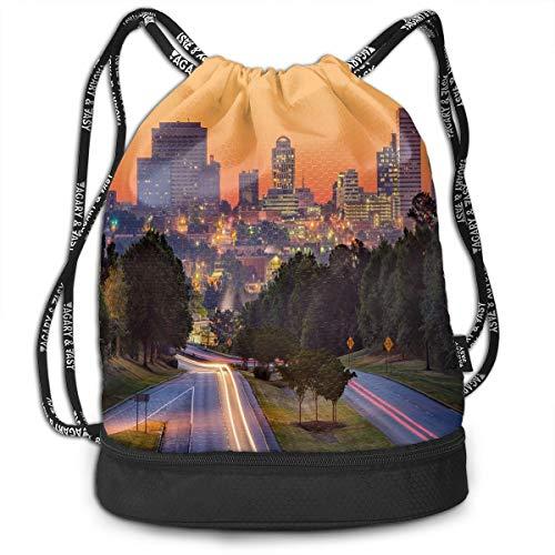 Drawstring Backpacks Bags,Skyline Of Columbia City South Carolina Main Street Urban Scene,Adjustable