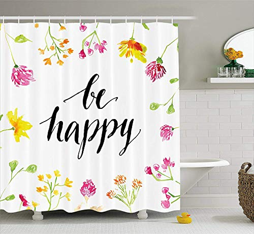 Quote Shower Curtain, Positive Vibes Spring Revival Floral Be Happy Phrase Framed by Colorful Wild Flowers, Cloth Fabric Bathroom Decor Set with Hooks, 60 W x 72 L inches, Multicolor