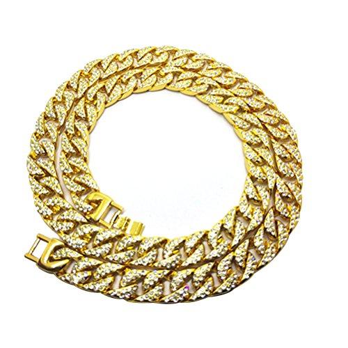 BESTOYARD Hip Hop Necklace Hip Hop Jewelry Rapper Necklace Gothic Hip Hop Chunky Chain Rhinestones Diamonds Cuban for Men Women Costume Accessories Gold