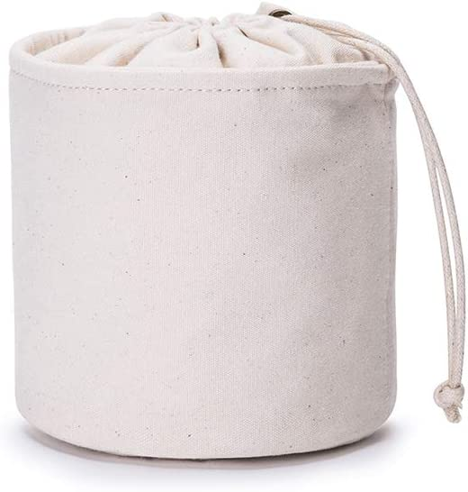 Tall Purse Organizer Insert Womens Canvas Round Handbag Organizer Storage,Handbag Purse Organizer Round Cosmetic Pouch Bag Bucket Makeup Bag (Beige【Small】)