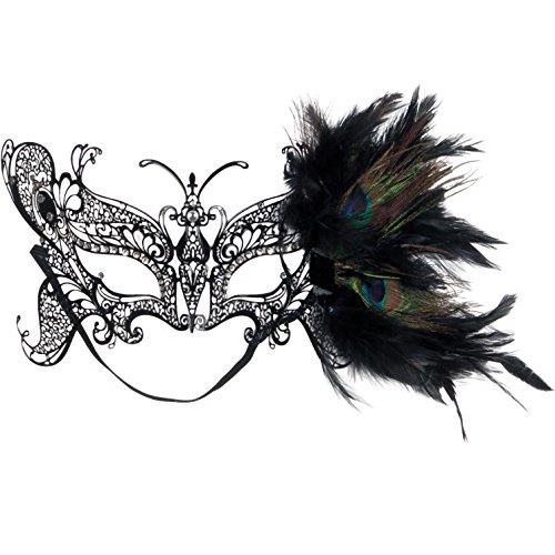 Loftus Jewel Metal Laser Cut Half Mask w Peacock Feathers, One-Size, Black (Peacock Eye Mask)