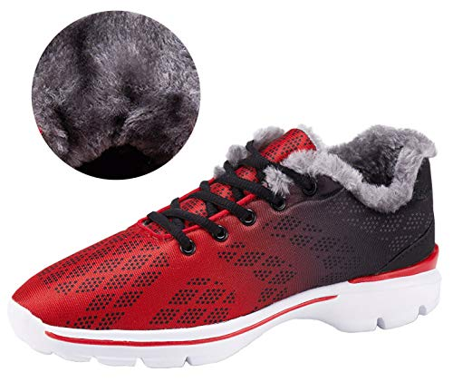(Mens House Slippers Winter Sneakers Fur Lined Indoor Outdoor Casual Walking Running Tennis Shoes)
