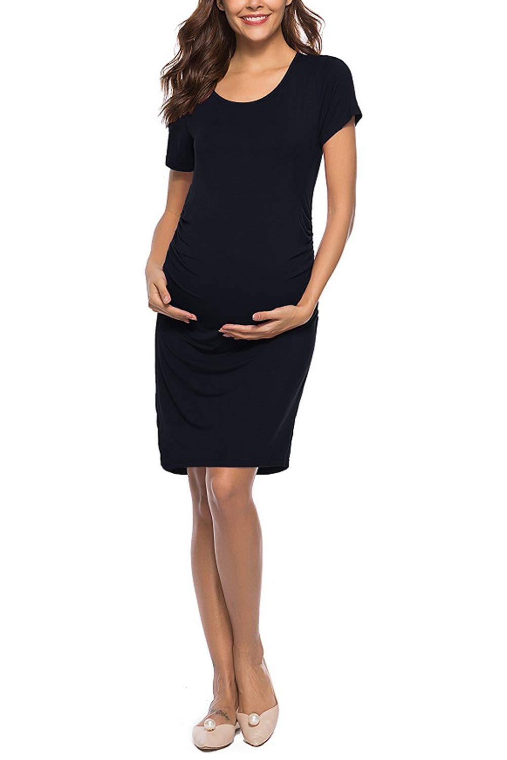 Short Sleeves Maternity Dress Bodycon Summer Casual Ruched Knee Length Pregnancy Dress Black L
