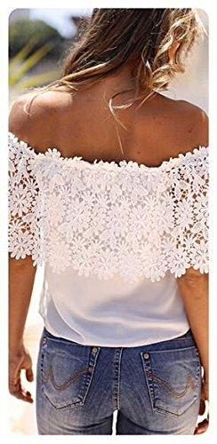 Minetom Donne Sexy Chiffon Di Seta Pizzo Cuciture A Maniche Corte Épaule Off Camicetta Crochet Splice Shirt Tops