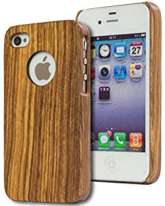 iPhone 4, 4s Case, Bastex Real Wood [Zebrawood] Hard Phone Case for Apple iPhone 4, 4s