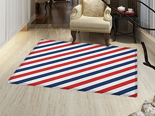 smallbeefly Harbour Stripe Floor Mat for kids Vintage Barber Pole Helix of Colored Stripes Medieval Contrast Design Door Mat Increase Blue Red White