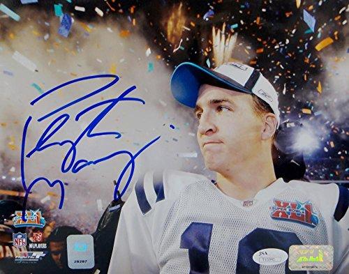 Peyton Manning Signed Indianapolis Colts 8x10 SB Celebration PF Photo- JSA Auth Blue - Signed Peyton Manning Photograph
