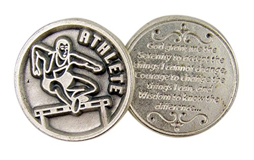 Silver Toned Athletes Pocket Medal with Serenity Prayer on Back, 1 1/4 Inch]()