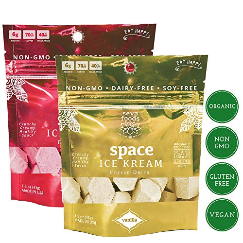 - Seva Foods 2-Pack Organic Vanilla & Strawberry Space Ice Kream (Healthy Freeze Dried Astronaut Ice Cream) Vegan Non Dairy, 3 oz Total Weight - 20 Pieces