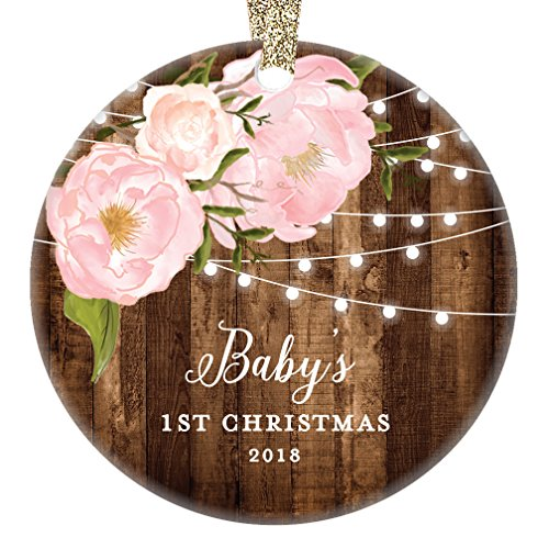 Baby's 1st Christmas Gifts, Little Girl Newborn Babies Christmas Ornament 2018 Dated Yearly Annual Pink Peonies Xmas Farmhouse Collectible 3