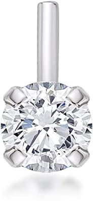 14K White Gold Nose Bone Ring Lrg 2.5mm Real Diamond 20G