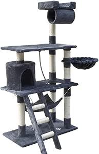 Cat Scratching Tree Post Scratcher Pole Condo Gym Furniture Medium 141cm grey