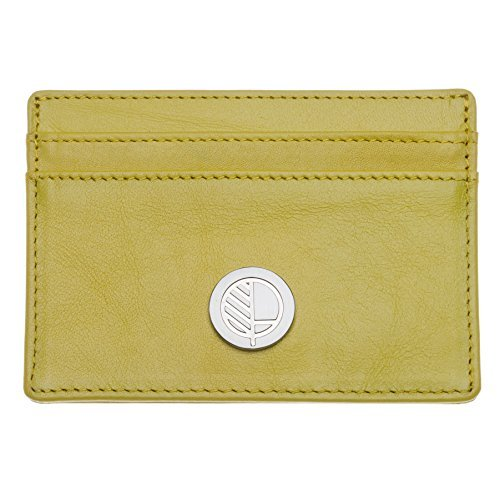 (Ultra Slim Real Genuine British Leather Credit Card Holder for Men & Women. Cress Green)