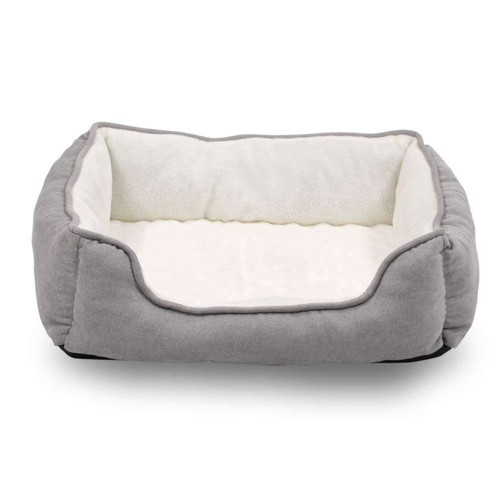 Happycare Textiles Orthopedic rectangle bolster Pet Bed,Dog Bed, Super soft plush, Large 34x24 inches Gray