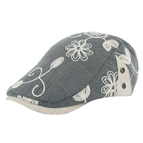 BCDshop Women Retro Flowers Embroidery Berets Cap Hat Flat Caps Fashion Cap - Golf Designs Embroidery