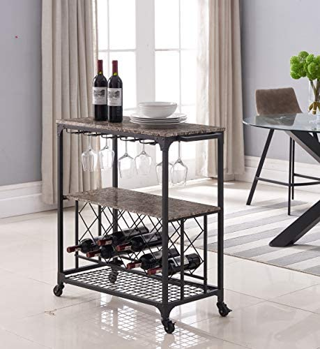 Kings Brand Furniture – Antonia Kitchen Serving Cart Bar Buffet with Wine Rack Glass Holder