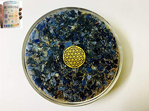 Sale ! Lapis Lazuli Chakra Stone Orgone Tea Coaster Flower of Life Round Crystal Therapy Plate Comes with 20 Pages Chakra Balancing by Chakra Symbols Booklet Amethyst is A Meditative - Programming Coasters
